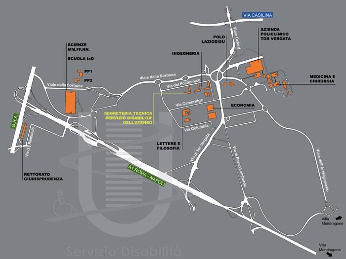 Mappa Campus Tor Vergata