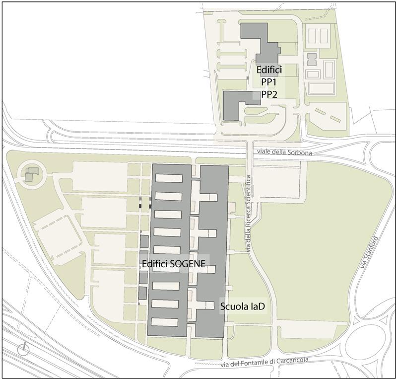 Planimetria generale della Facoltà di Scienze. Mappa sensibile: cliccare sulle sedi per maggiori informazioni