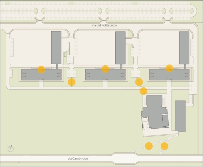 Pianta dell'accessibilità visiva nella facoltà di Ingegneria. Mappa sensibile: cliccare sui simboli per maggiori informazioni